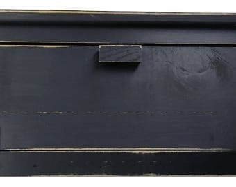 Country Rustic Wood Breadbox With Primitive Leather Hinges Distressed Finish