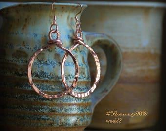 Copper Wire Hoop Earrings. 12 ga. Free U.S. Shipping. handmade