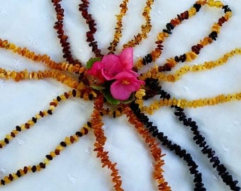 """Baltic Lithuanian Amber Baby Teething Necklace 13"""" Handmade With Love (Raw & Polished)"""