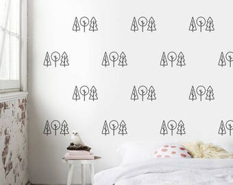 Trees Wall Pattern, Trees Wall Sticker, Wall Decor Trees, Forest Wall Decor, Self Adhesive Wall Decor, Removable Wall Stickers WP011