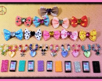 Littlest Pet Shop LPS Custom Accessories 5 Pc Set - 1 Bow 1 Collar 1 Phone 1 Earrings + Gift Bag