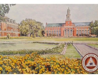 Oklahoma State University LIMITED EDITION Pen and Ink and Watercolor Art Print Illustration - Graduation Gift, college, university