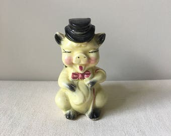Pig planter 5x3x3-succulent container-yellow pig figurine-BBQ-piglet-top hat-vintage ceramic collectible-container pen holder-brush holder