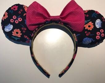 Handmade Floral Tea Party Disney Ears