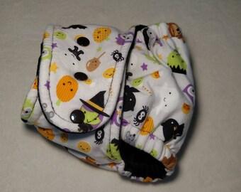 OS Fitted Cloth Diaper - hemp fleece - cotton velour - night time solution - Halloween cloth diaper - cloth diaper - Halloween
