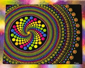 "Original hand painted Mandala, Dot Art, Dot Painting ""Rainbow Spin Mandala"" colourful wall art  #38. Free Shipping"