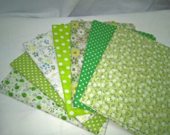 7 assorted cotton fabrics coupons 49 x 49 *, green