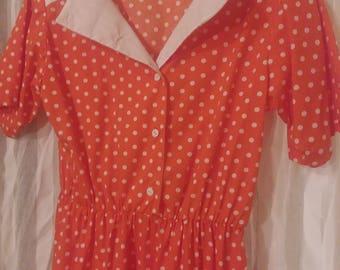 Orange polka dot dress