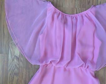 70s Pink Formal Prom Dress