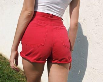Red Denim High Waisted Shorts