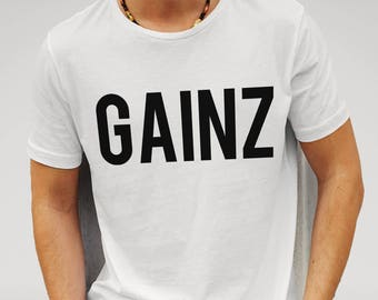 Mens Gainz Gym Fitness Muscles - White T-shirt