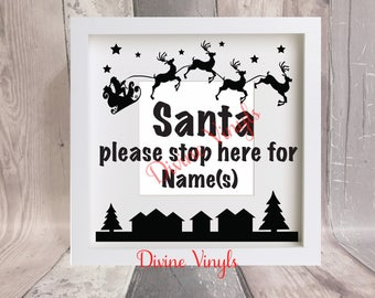 santa please stop here for... vinyl decal