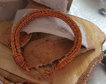 Viking knit bracelet made of copper