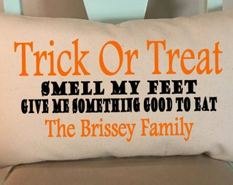 Trick Or Treat Personalized Pillow Cover/Halloween Pillow Cover/Personalized Pillow Cover