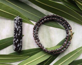 Snowflake Obsidian || Double Wrap Hemp Bracelet