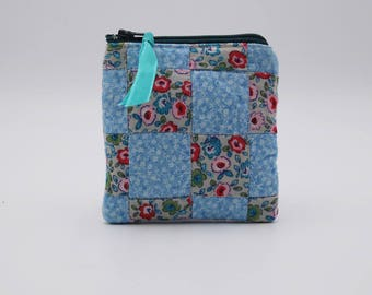 Blue Calico and Floral Coin Purse