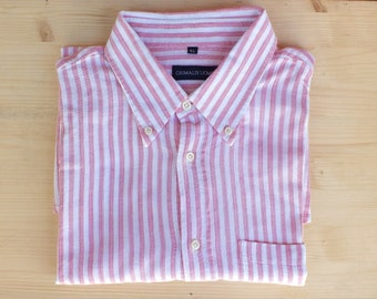 Mens striped SHIRT, VINTAGE, short sleeves, pink and white, cotton, xL