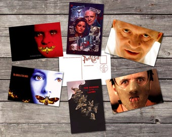 The silence of the lambs set 6 postcards | hannibal lecter | anthony hopkins | the silence of lambs | deaths head moth | scary movie art