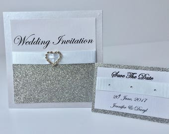 Handmade Wedding Invitation, Save the Date, Glitter, White ribbon, Heart, Pearlised, Gems, Sparkle, Pearlescent silver