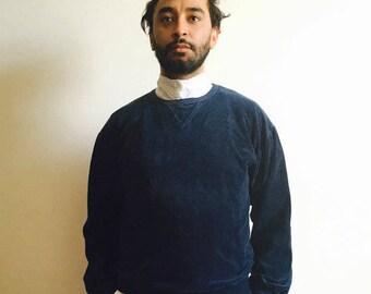 Christian Dior Indigo Velour Crew Sweater M Medium