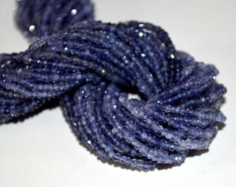 Iolite Rondelles Faceted  - Natural Iolite Gemstone Beads - AAA Quality Micro Faceted Rondelle