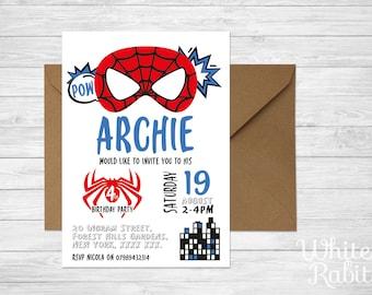 Printable Spiderman Superhero Party Invitation
