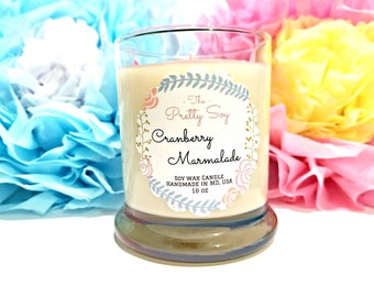 Best Scented Soy Candle, CRANBERRY MARMALADE  made with all natural soy wax, hand poured in USA