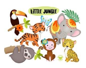 Little Jungle, cute, digital clipart,  jungle, animals, tiger, elephant, monkey, sloth, leopard, toucan, palm leaves, clip art