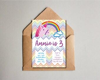 Rainbow Unicorn Rainbow Birthday Party Invite, Children's Birthday Invite, Girls boys 3rd Birthday, Kids Birthday, Custom Chevron Printable