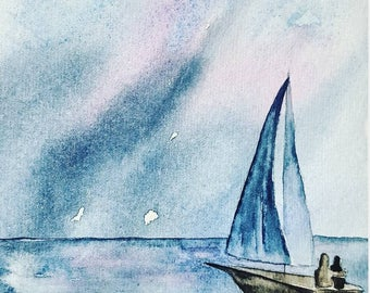 Sailing Couple WATERCOLOR Greeting Card with envelope on Strathmore Cardstock 5x7