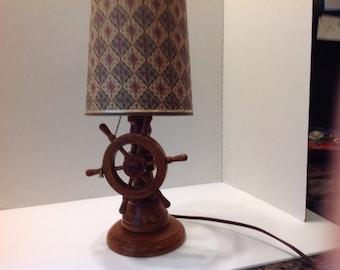 Nautical table lamp, ships wheel lamp, wood lamp