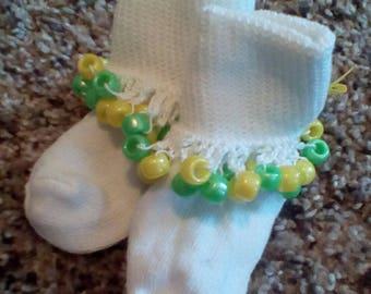 Yellow & Green Crochet Beaded Socks