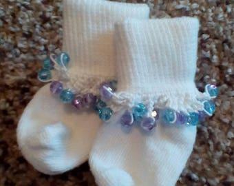 Blue & Purple Crochet Beaded Socks