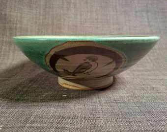 Japanese Shino Bowl with 3 Birds Marked