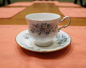 Queen Anne Vintage English Bone China Teacup and Saucer