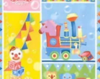 Quilting treasures Ringling Brothers circus clown train Cotton Fabric panel blue red toys cow bear puppy Cotton 1 yard baby quilt blanket