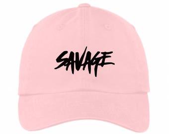 Savage Dad Hat Pink
