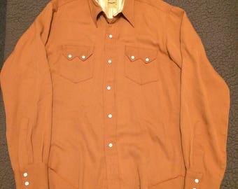 1950s Cinnamon Brown Gabardine Ranchcraft Western Shirt