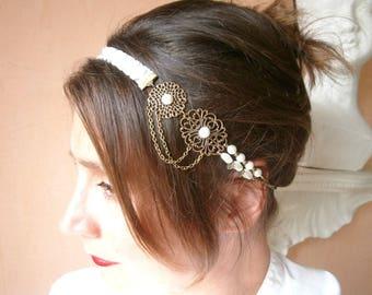 Headband wedding headband retro satin bias chains of brass and Ivory Pearl beads