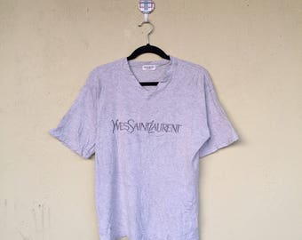 Rare!!Vneck Tshirt YVESSAINTLAURENT POUR HOMME Embroidery Spell Out Ysl Fashion Clothing Size Large