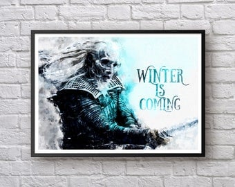 White Walker Game of Thrones Print, North Westeros Poster, Winter is Coming TV Show Poster, Movie Poster Watercolor Art Print Wall Decor