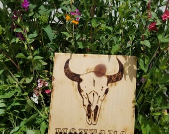 Pyrography Art Montana Sign