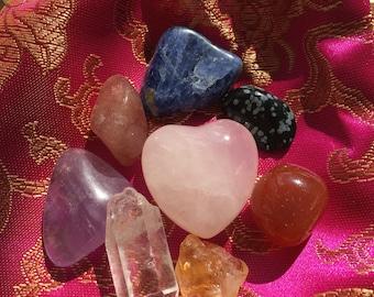 Chakra crystal set ~ Satin medicine bag with Reiki charged chakra crystals