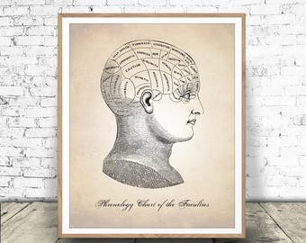 PHRENOLOGY Download, Medical Illustration, Human Anatomy Print, Phrenology, Human Anatomy, Psychology Head, Anatomy Art, ANATOMY PRINTABLE