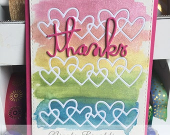 Thank you Card Watercolored With Hearts