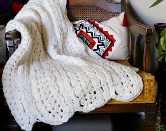 Vintage Cream Crochet Afghan Throw, Scallop Blanket, Off White