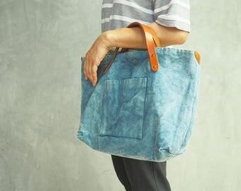 Indigo canvas bag, multipurpose tote bag, carryall, medium tote bag, canvas shopping bag,