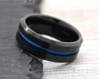 Unique Black Tungsten Wedding Band Mens Unique Engagement Ring Mens Mens Engagement Ring