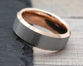 rose gold wedding band etsy