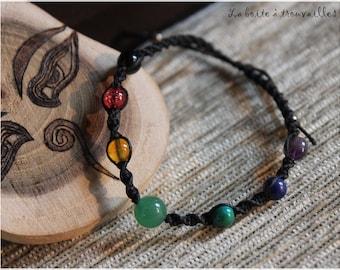 Black macrame and 7 chakra stones bracelet
